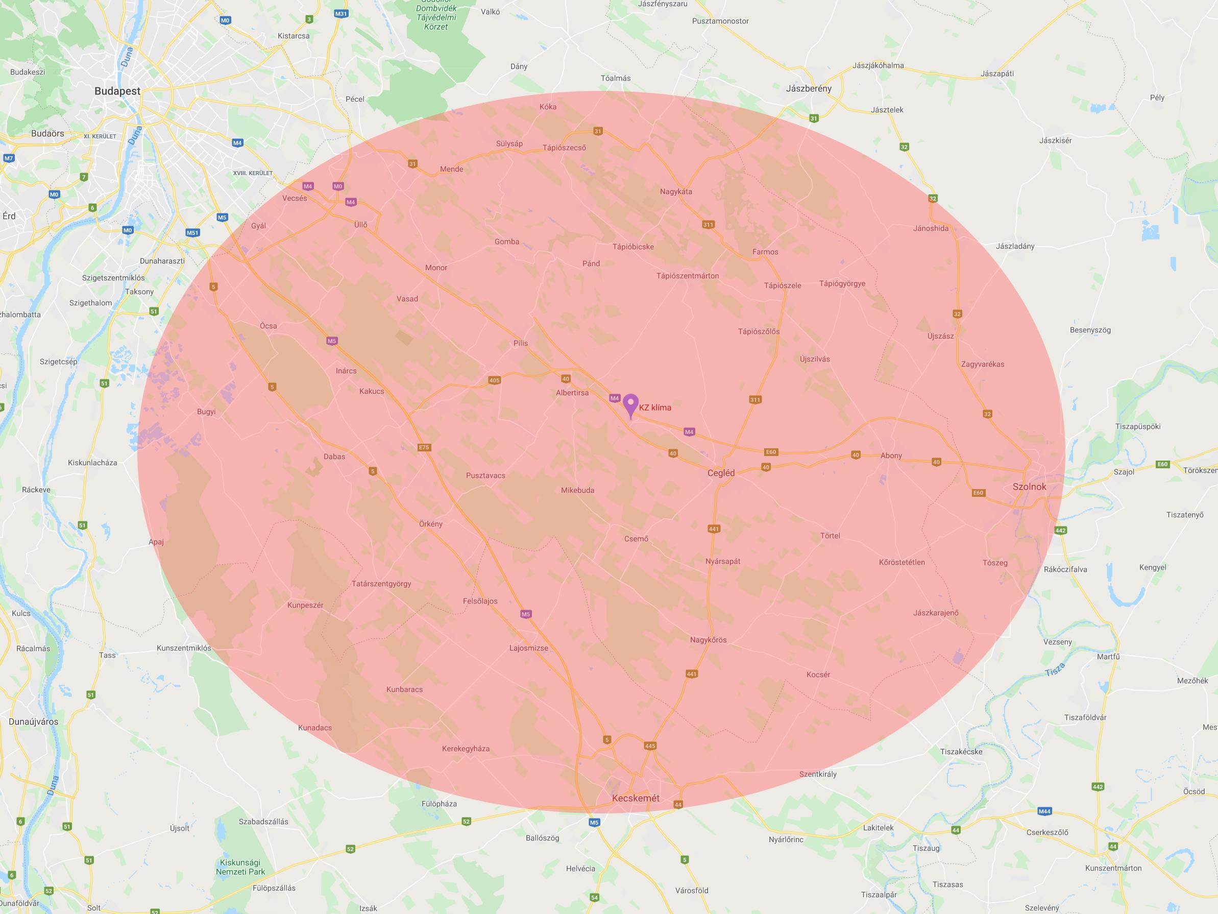 KZ klíma szolgáltatási terület