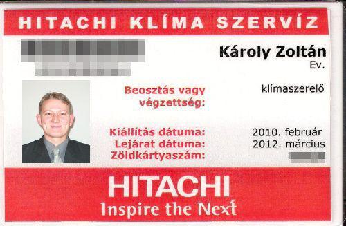 Hitachi regisztrált szerelõi kártya