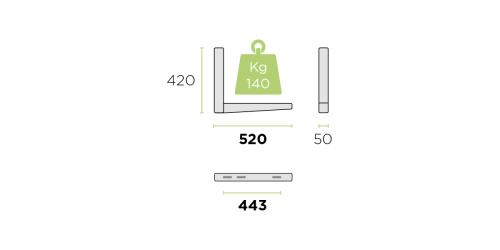 Klíma kültéri tartó konzol 520 mm-es szinterezett