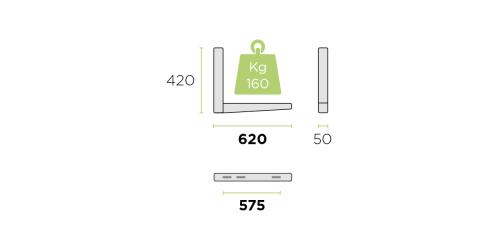 Klíma kültéri tartó konzol 620 mm-es szinterezett