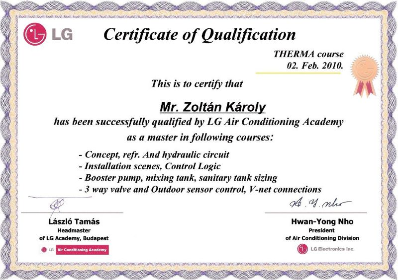 LG Therma-V Course Certificate of Qualification