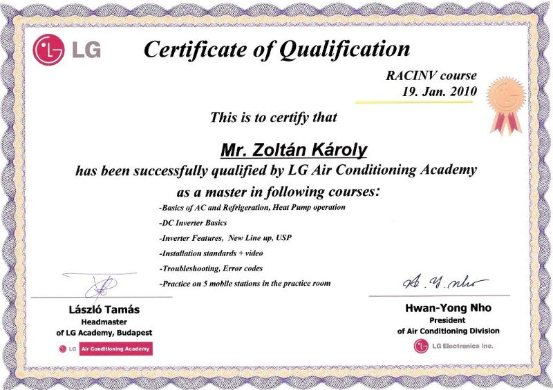 LG Residential Air Conditioners Course Certificate of Qualification