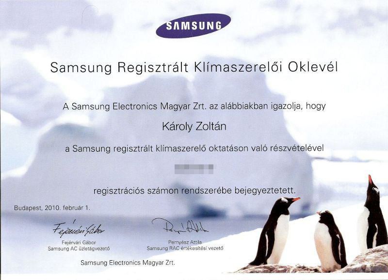 Samsung Regisztrált szerelõi Oklevél